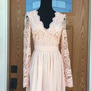 Lulu's Dresses - New**Lulus -Awaken My Love Long Sleeve Lace Maxi